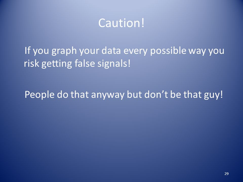 Caution! If you graph your data every possible way you risk getting false signals! People do that anyway but don't be that guy! 29