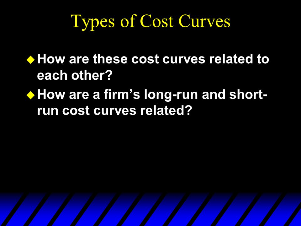 Types of Cost Curves u How are these cost curves related to each other? u How are a firm's long-run and short- run cost curves related?