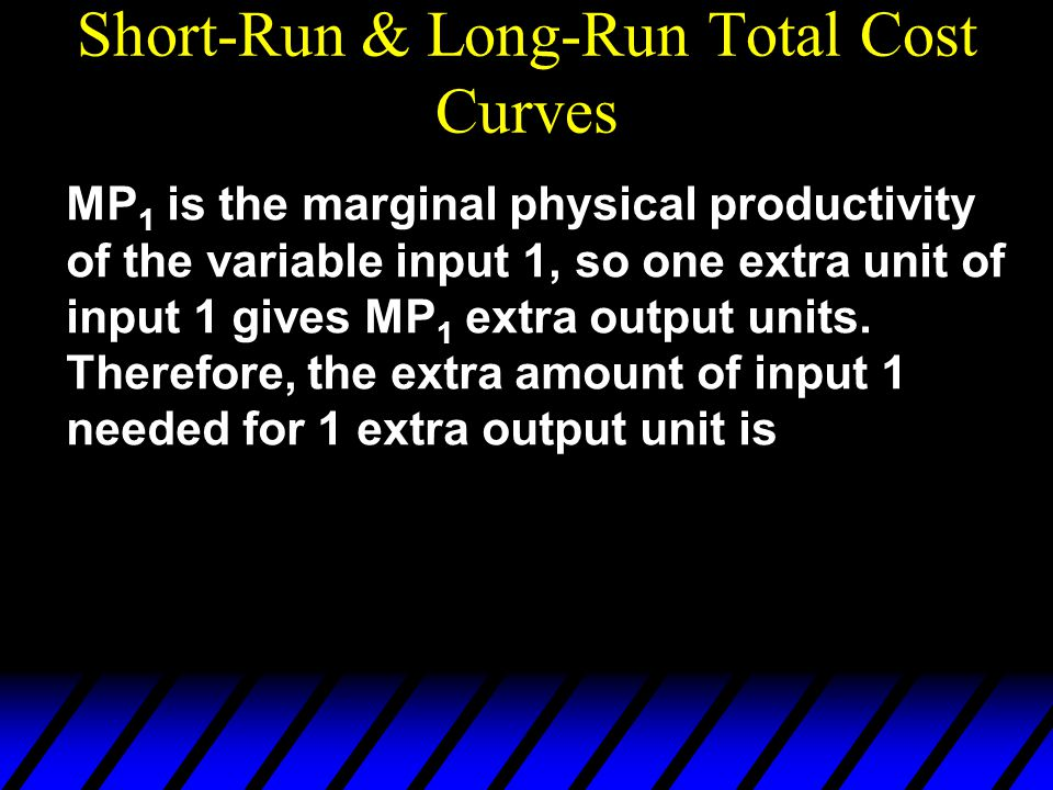 MP 1 is the marginal physical productivity of the variable input 1, so one extra unit of input 1 gives MP 1 extra output units. Therefore, the extra a