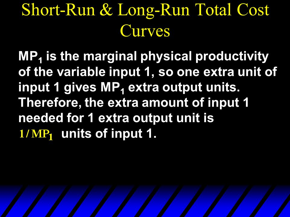 MP 1 is the marginal physical productivity of the variable input 1, so one extra unit of input 1 gives MP 1 extra output units.