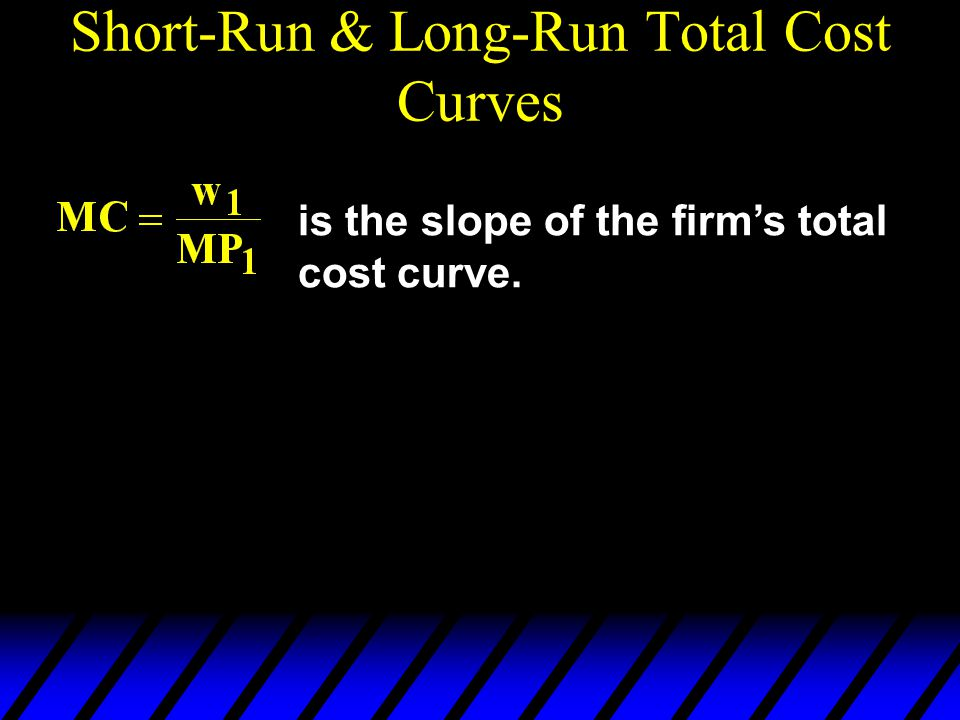 Short-Run & Long-Run Total Cost Curves is the slope of the firm's total cost curve.