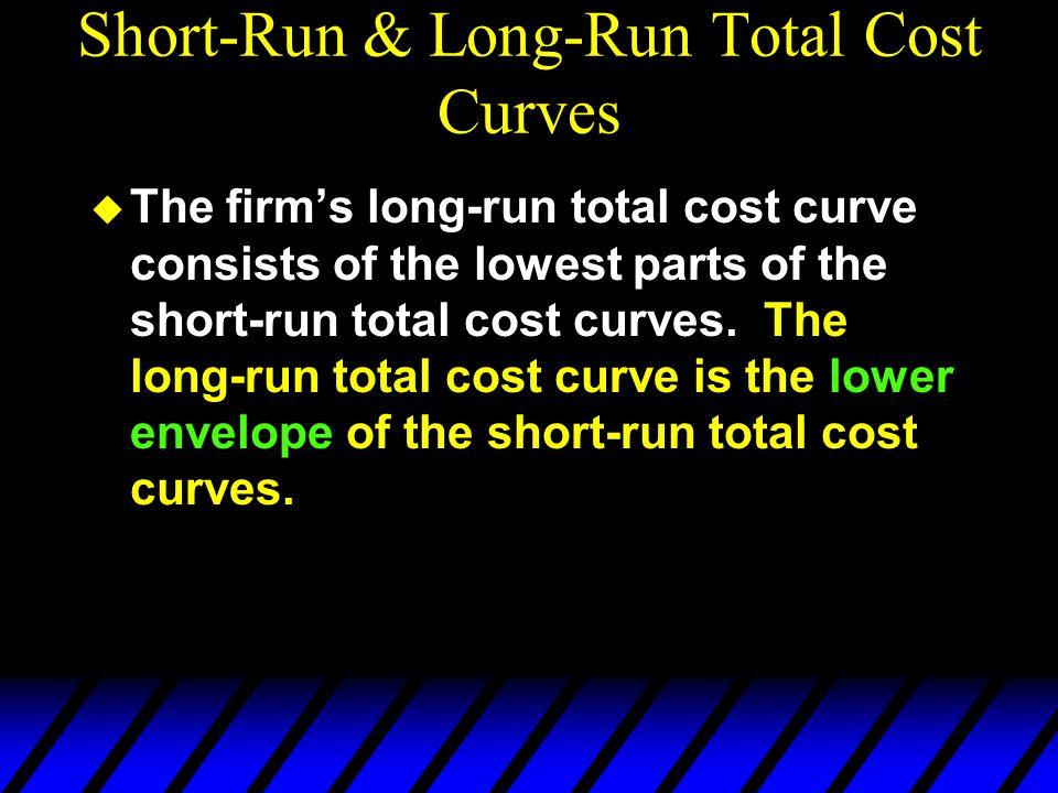 Short-Run & Long-Run Total Cost Curves u The firm's long-run total cost curve consists of the lowest parts of the short-run total cost curves.