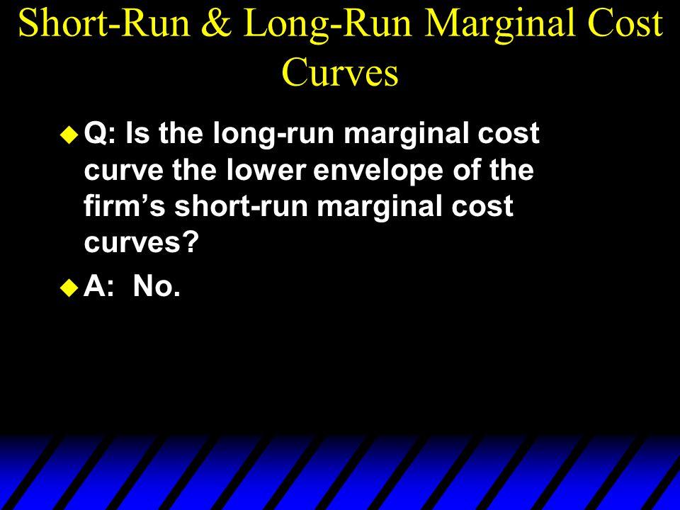 Short-Run & Long-Run Marginal Cost Curves u Q: Is the long-run marginal cost curve the lower envelope of the firm's short-run marginal cost curves.