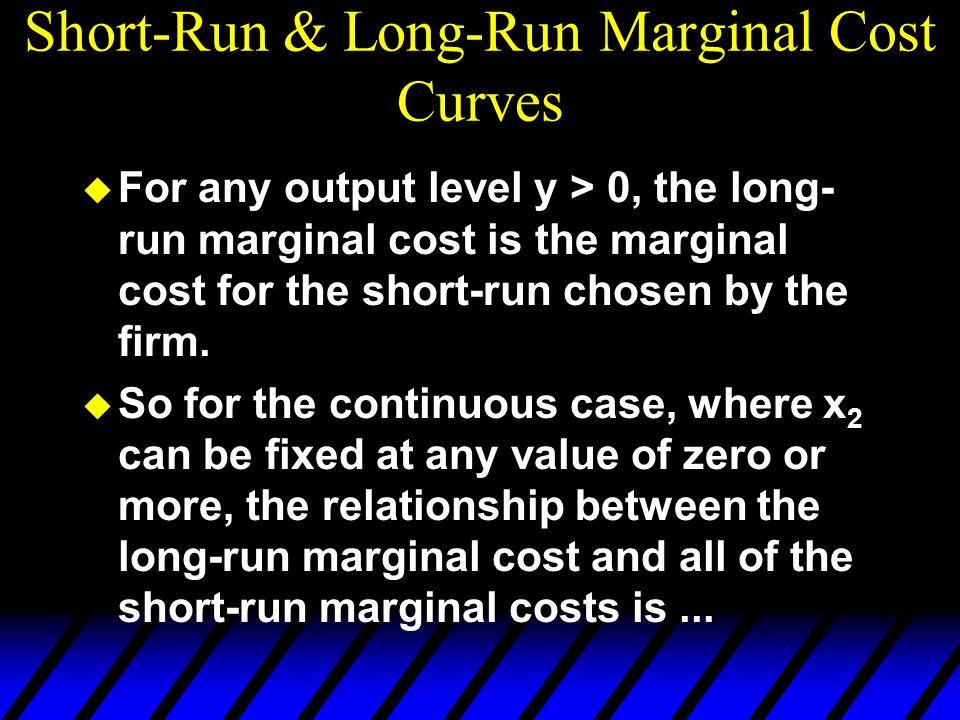 Short-Run & Long-Run Marginal Cost Curves u For any output level y > 0, the long- run marginal cost is the marginal cost for the short-run chosen by t