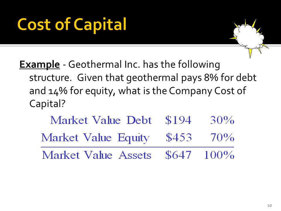 Example - Geothermal Inc. has the following structure. Given that geothermal pays 8% for debt and 14% for equity, what is the Company Cost of Capital?