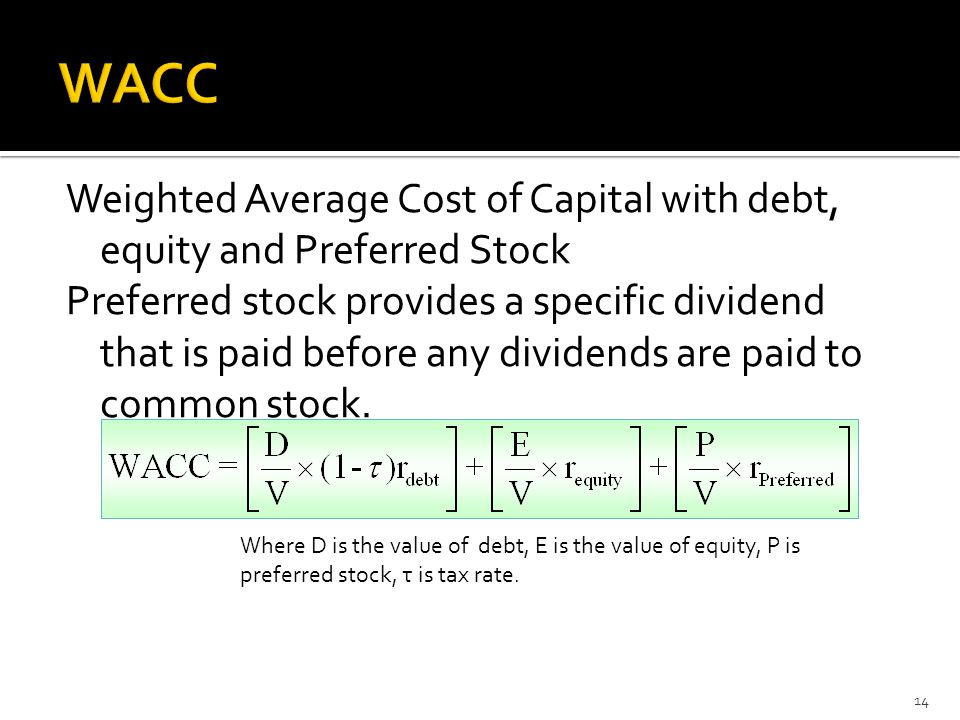 Weighted Average Cost of Capital with debt, equity and Preferred Stock Preferred stock provides a specific dividend that is paid before any dividends