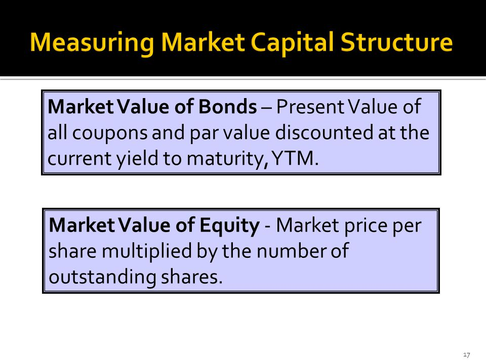 17 Market Value of Bonds – Present Value of all coupons and par value discounted at the current yield to maturity, YTM. Market Value of Equity - Marke