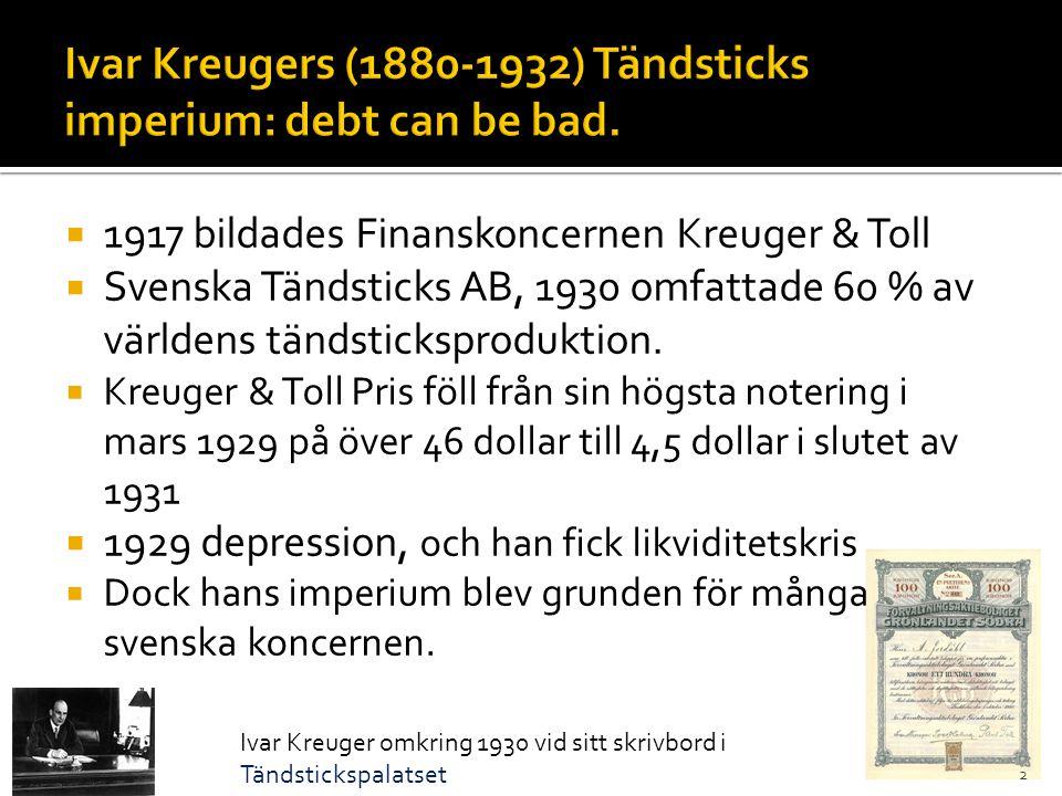  1917 bildades Finanskoncernen Kreuger & Toll  Svenska Tändsticks AB, 1930 omfattade 60 % av världens tändsticksproduktion.