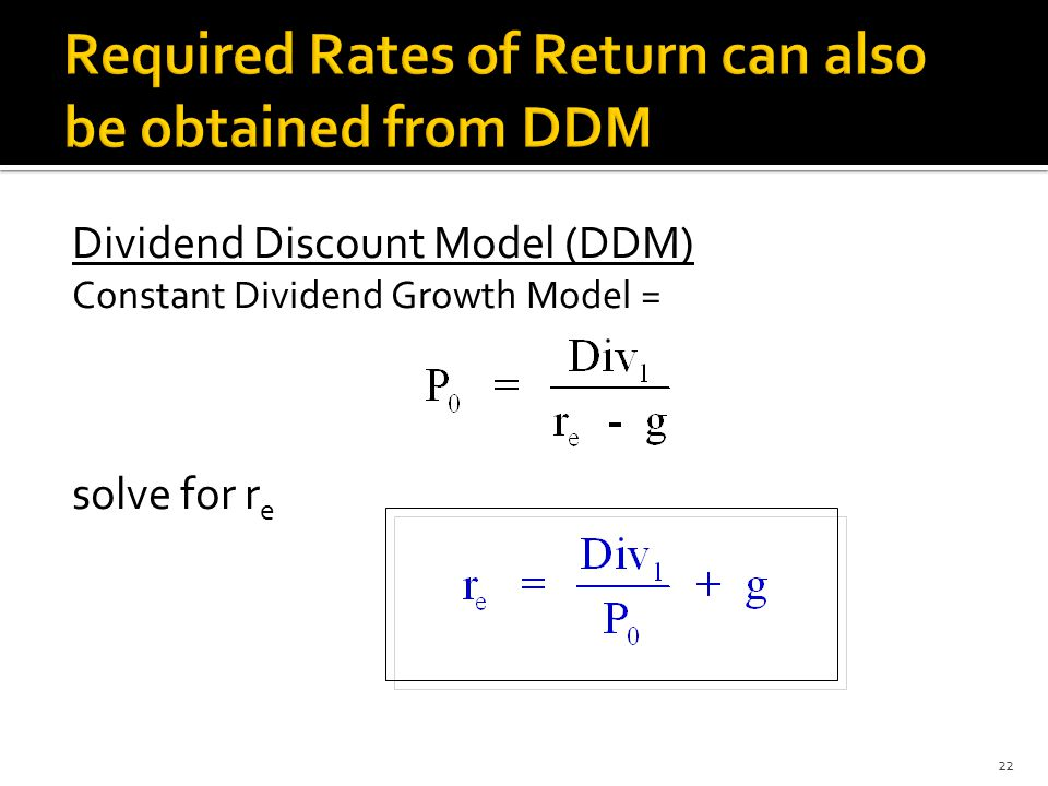 Dividend Discount Model (DDM) Constant Dividend Growth Model = solve for r e 22
