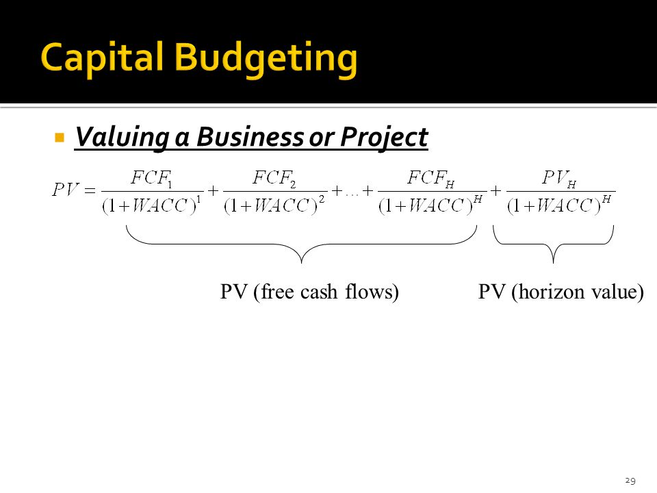  Valuing a Business or Project 29 PV (free cash flows)PV (horizon value)