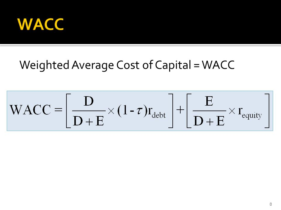 Weighted Average Cost of Capital = WACC 8