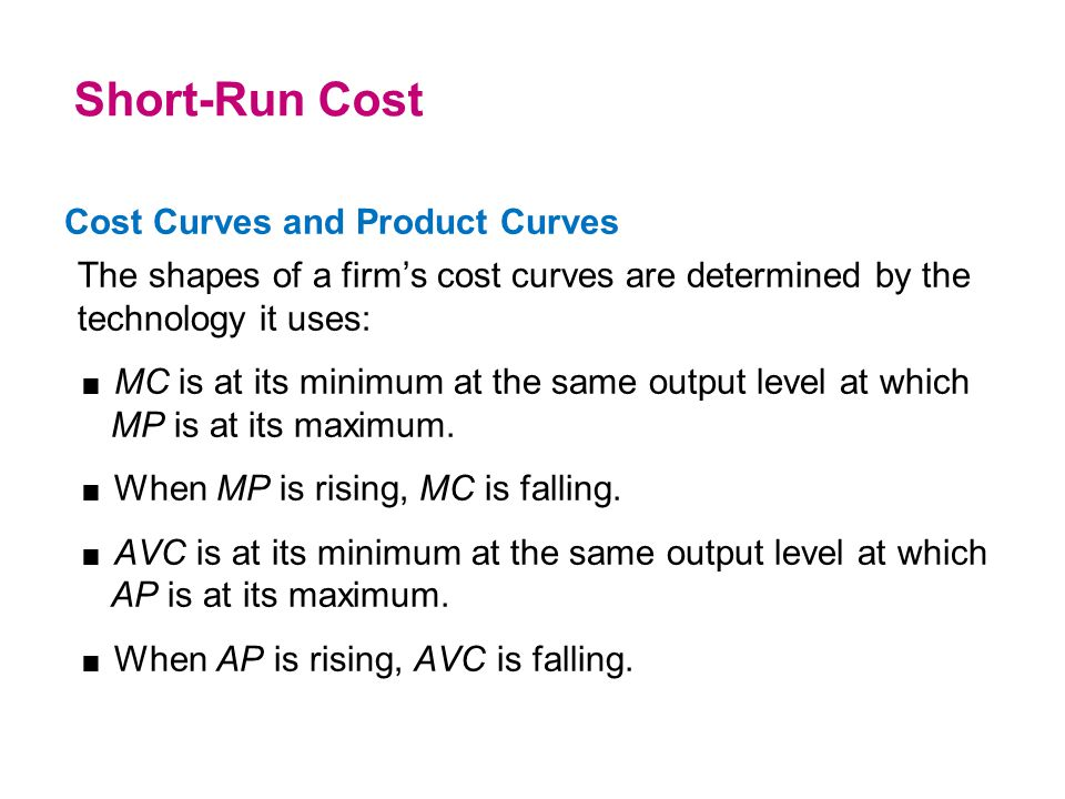Cost Curves and Product Curves The shapes of a firm's cost curves are determined by the technology it uses:  MC is at its minimum at the same output
