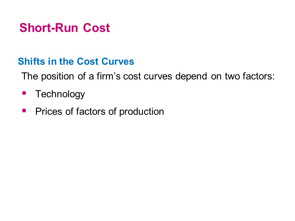 Shifts in the Cost Curves The position of a firm's cost curves depend on two factors:  Technology  Prices of factors of production Short-Run Cost