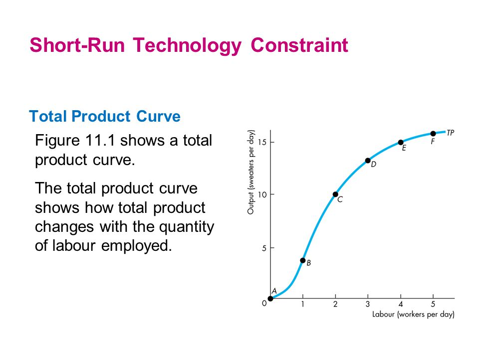 Total Product Curve Figure 11.1 shows a total product curve. The total product curve shows how total product changes with the quantity of labour emplo