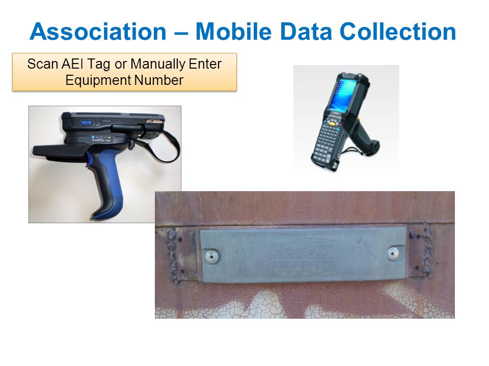 Association – Mobile Data Collection Scan AEI Tag or Manually Enter Equipment Number