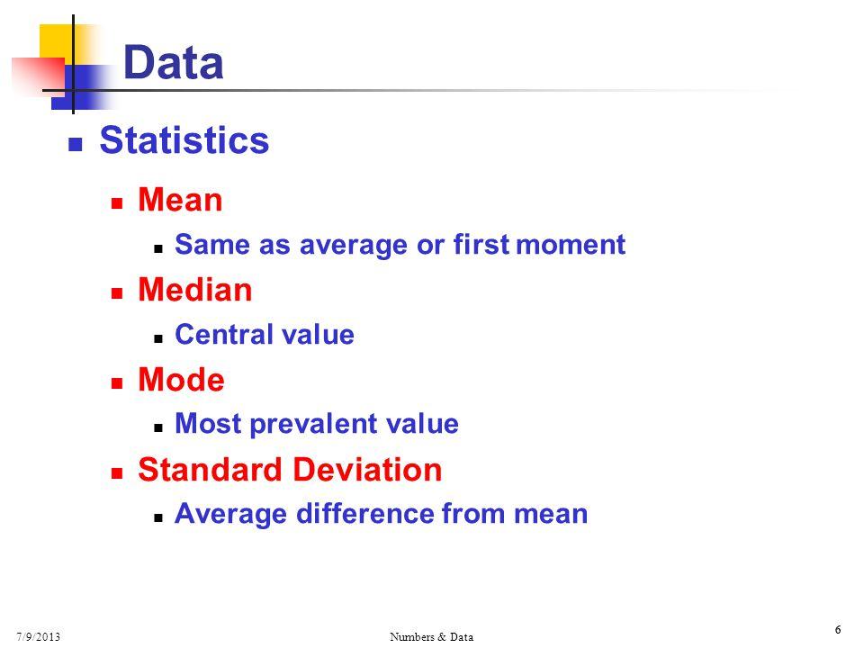 7/9/2013 Numbers & Data 6 6 Data Statistics Mean Same as average or first moment Median Central value Mode Most prevalent value Standard Deviation Ave
