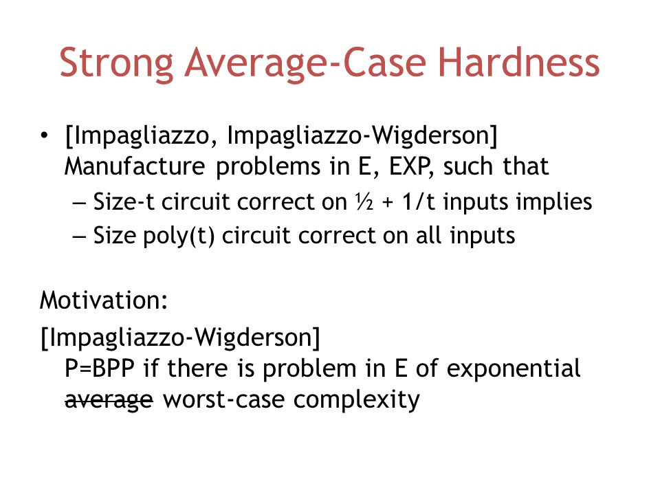 Strong Average-Case Hardness [Impagliazzo, Impagliazzo-Wigderson] Manufacture problems in E, EXP, such that – Size-t circuit correct on ½ + 1/t inputs implies – Size poly(t) circuit correct on all inputs Motivation: [Impagliazzo-Wigderson] P=BPP if there is problem in E of exponential average worst-case complexity