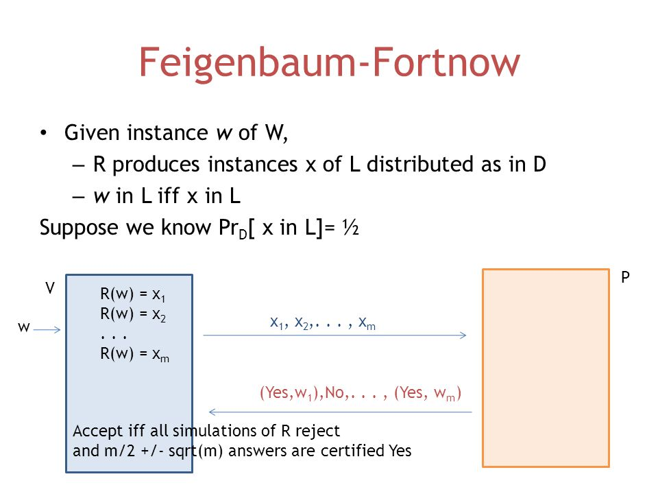 Feigenbaum-Fortnow Given instance w of W, – R produces instances x of L distributed as in D – w in L iff x in L Suppose we know Pr D [ x in L]= ½ V P w R(w) = x 1 R(w) = x 2...