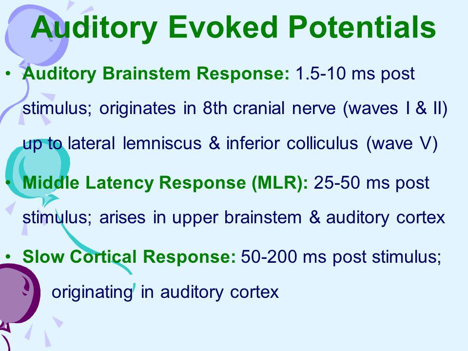 Auditory Brainstem Response: 1.5-10 ms post stimulus; originates in 8th cranial nerve (waves I & II) up to lateral lemniscus & inferior colliculus (wa