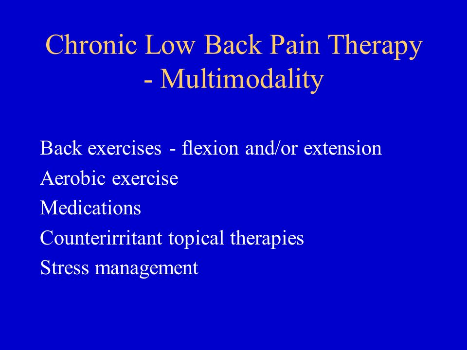 Chronic Low Back Pain Therapy - Multimodality Back exercises - flexion and/or extension Aerobic exercise Medications Counterirritant topical therapies Stress management