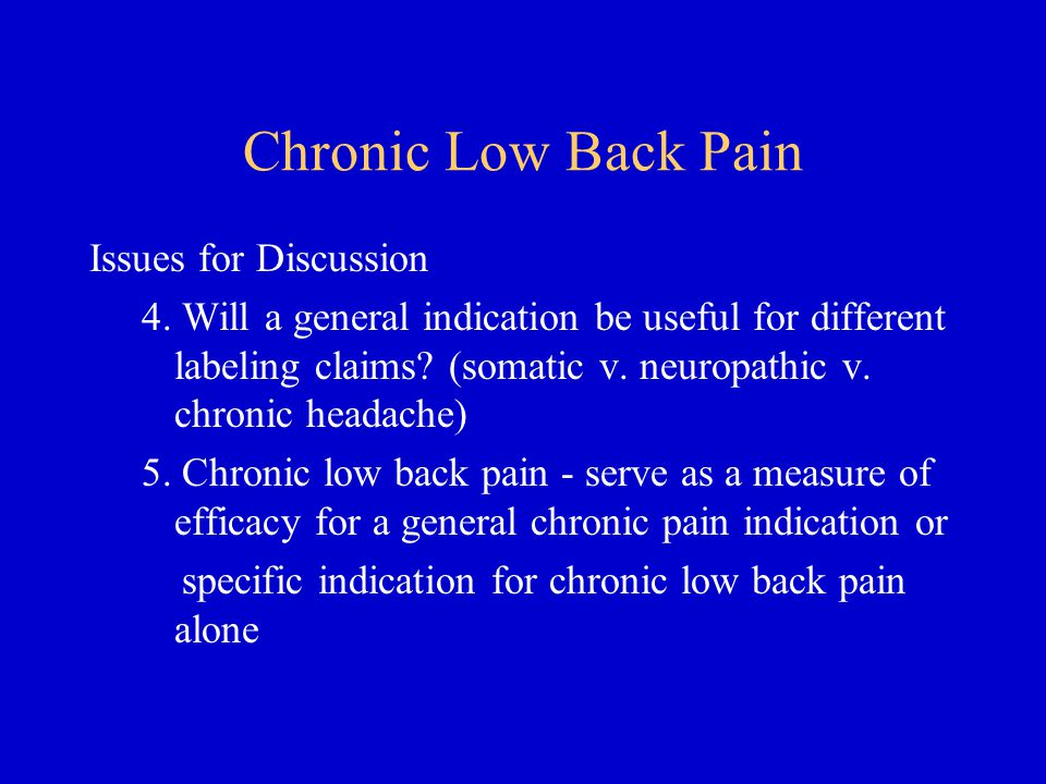 Chronic Low Back Pain Issues for Discussion 4.