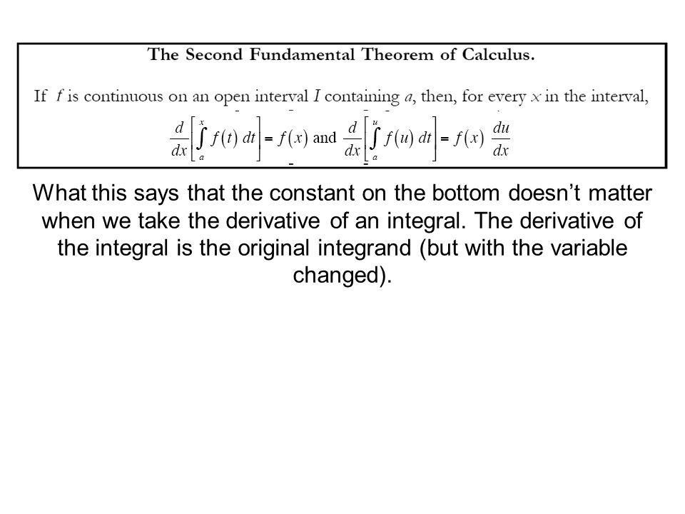 What this says that the constant on the bottom doesn't matter when we take the derivative of an integral.