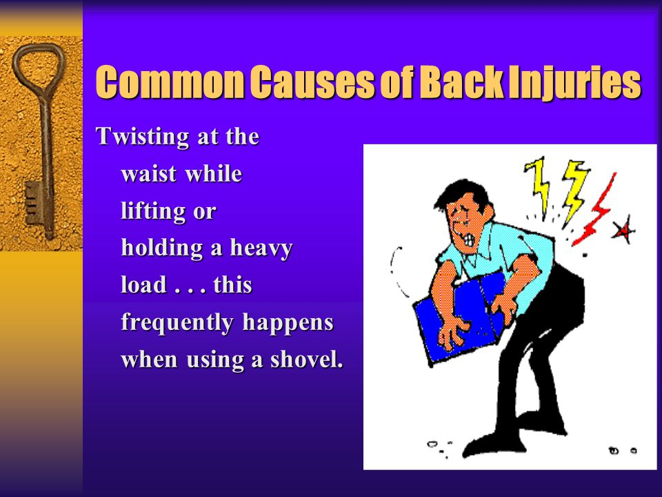 Common Causes of Back Injuries Twisting at the waist while waist while lifting or lifting or holding a heavy holding a heavy load... this load... this