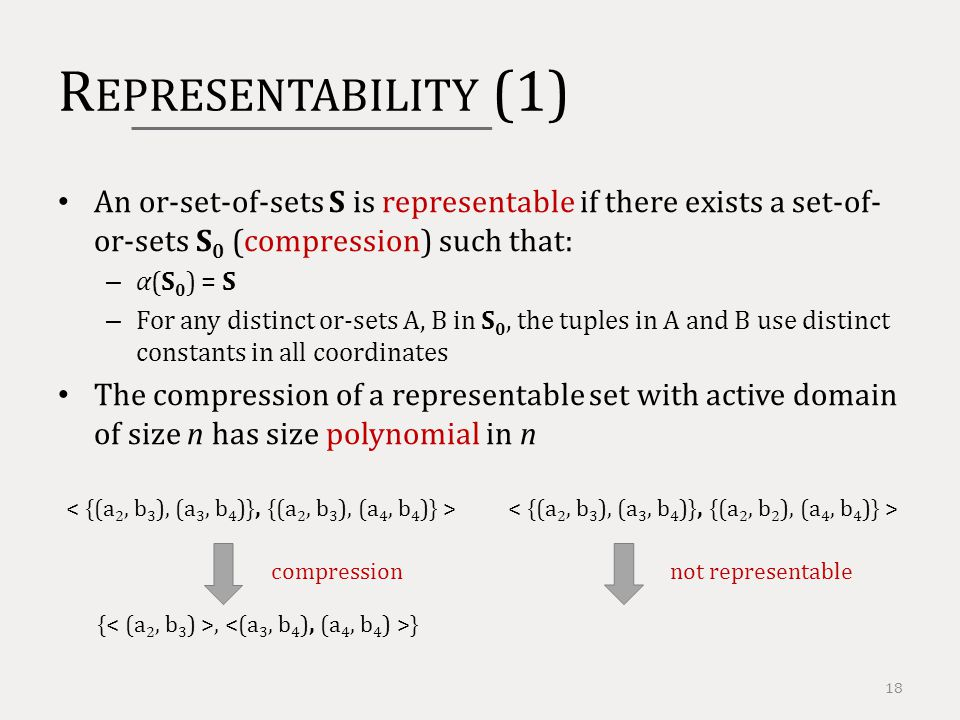 R EPRESENTABILITY (1) 18 An or-set-of-sets S is representable if there exists a set-of- or-sets S 0 (compression) such that: – α(S 0 ) = S – For any distinct or-sets A, B in S 0, the tuples in A and B use distinct constants in all coordinates The compression of a representable set with active domain of size n has size polynomial in n {, } compressionnot representable