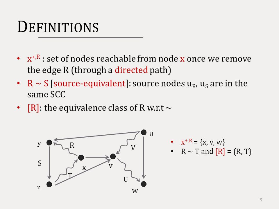 D EFINITIONS x +,R : set of nodes reachable from node x once we remove the edge R (through a directed path) R ~ S [source-equivalent]: source nodes u R, u S are in the same SCC [R]: the equivalence class of R w.r.t ~ 9 y R z x T S v w u x +,R = {x, v, w} R ~ T and [R] = {R, T} V U