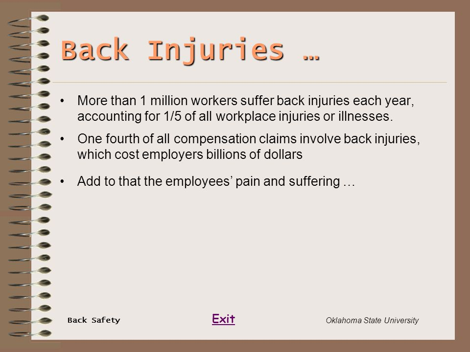 Back Safety Exit Oklahoma State University Back Injuries … More than 1 million workers suffer back injuries each year, accounting for 1/5 of all workp