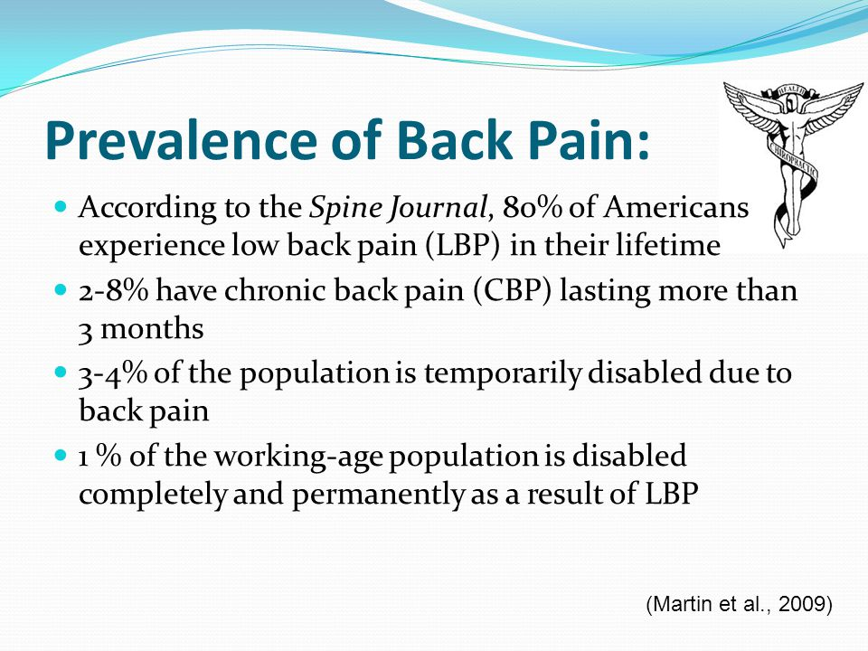 Prevalence of Back Pain: According to the Spine Journal, 80% of Americans experience low back pain (LBP) in their lifetime 2-8% have chronic back pain (CBP) lasting more than 3 months 3-4% of the population is temporarily disabled due to back pain 1 % of the working-age population is disabled completely and permanently as a result of LBP (Martin et al., 2009)
