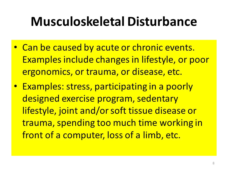 Muscle Function Disturbance This vicious cycle can be interrupted and reprogrammed through OMM Specific Exercises prescribed in the Proper Sequence Thus, the overall muscle tone and balance can be returned to (and maintained in) a more normal state.