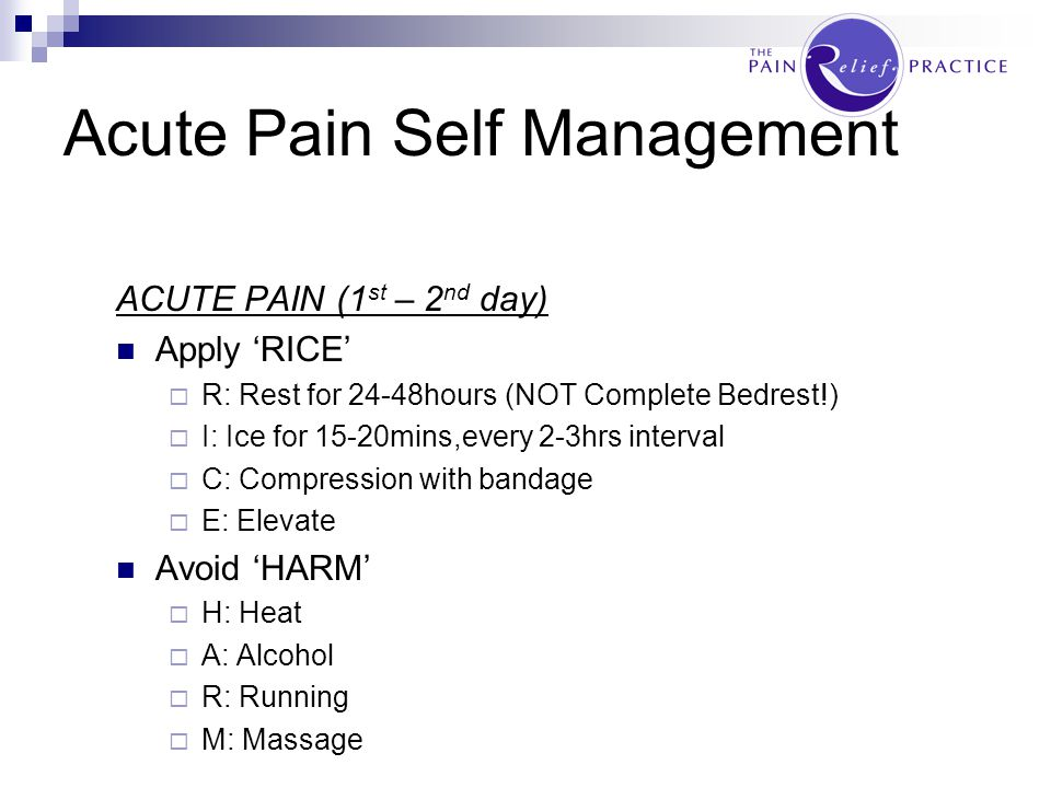 MANAGING PAIN - Self Management - Doctor - Physiotherapy - Surgery