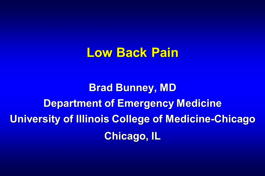Brad Bunney, MD Conclusion Back pain is common in the ED Back pain is common in the ED Radicular pain requires diligence to find the cause Radicular pain requires diligence to find the cause The severity of spinal cord compression is related to force, duration and rate The severity of spinal cord compression is related to force, duration and rate Emergent therapy is necessary Emergent therapy is necessary Spinal Cord Attack Spinal Cord Attack