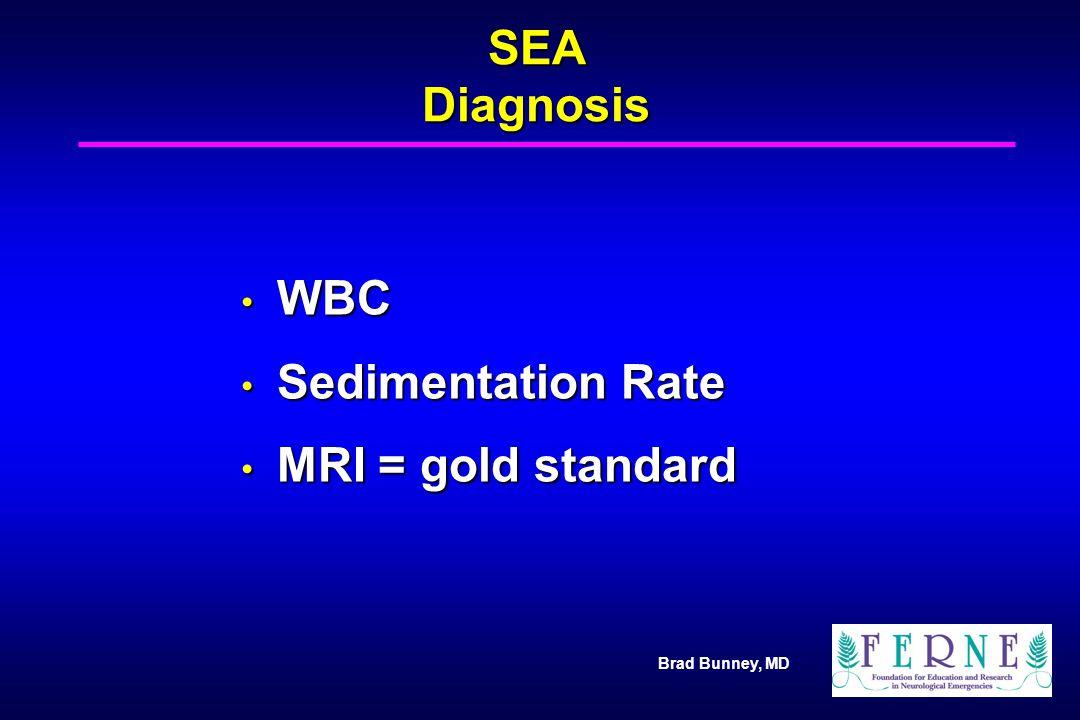 Brad Bunney, MD SEA Diagnosis WBC WBC Sedimentation Rate Sedimentation Rate MRI = gold standard MRI = gold standard