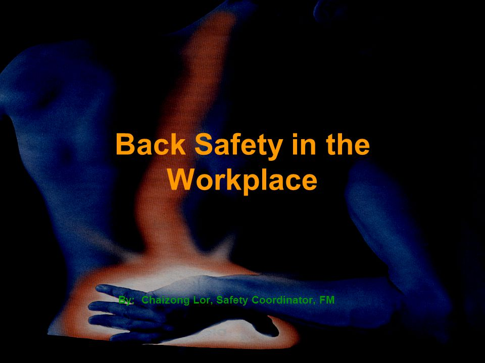 Back Safety in the Workplace By: Chaizong Lor, Safety Coordinator, FM