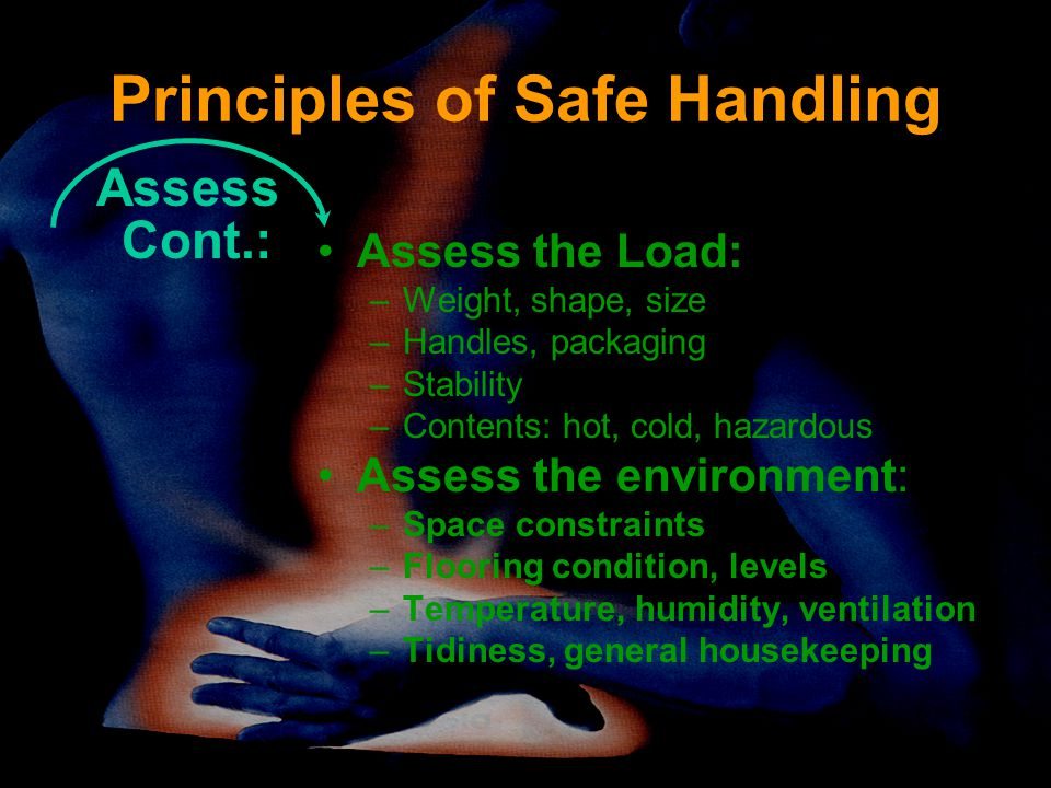 Principles of Safe Handling Assess Cont.: Assess the Load: –Weight, shape, size –Handles, packaging –Stability –Contents: hot, cold, hazardous Assess