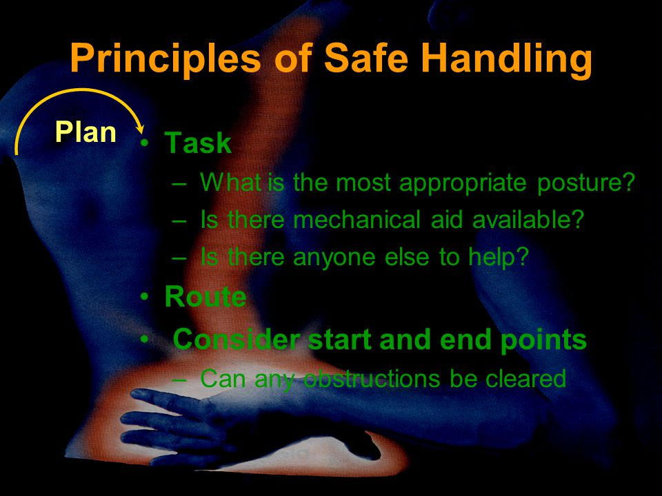 Principles of Safe Handling Task – What is the most appropriate posture? – Is there mechanical aid available? – Is there anyone else to help? Route Co