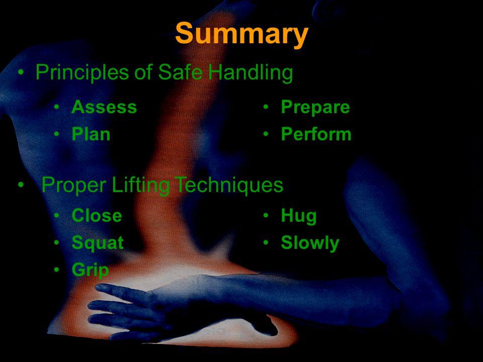 Summary Assess Plan Prepare Perform Principles of Safe Handling Proper Lifting Techniques Close Squat Grip Hug Slowly