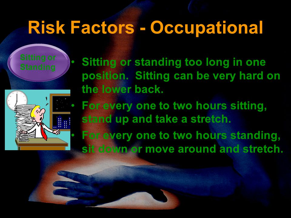 Risk Factors - Occupational Sitting or standing too long in one position. Sitting can be very hard on the lower back. For every one to two hours sitti
