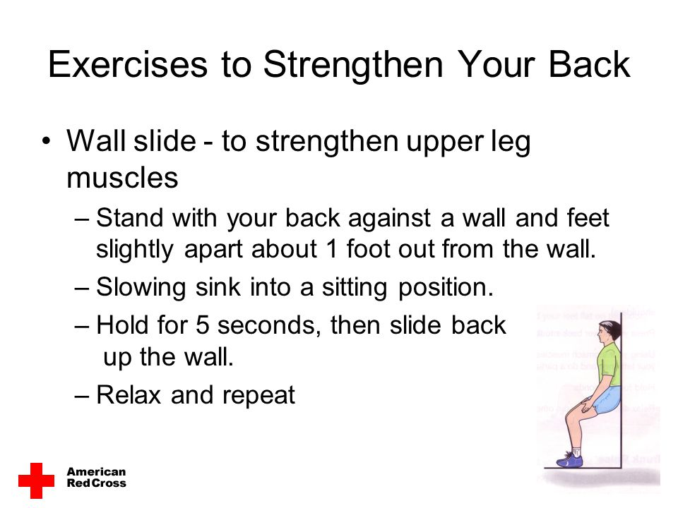 Exercises to Strengthen Your Back Wall slide - to strengthen upper leg muscles –Stand with your back against a wall and feet slightly apart about 1 fo