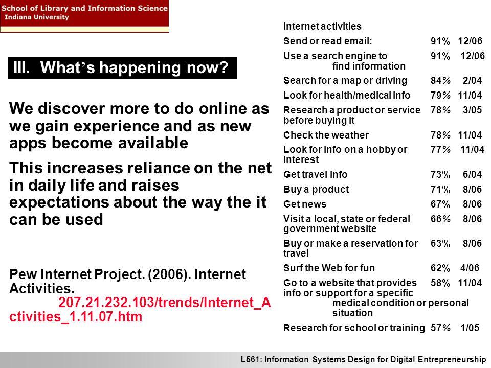 L561: Information Systems Design for Digital Entrepreneurship Pew Internet Project.