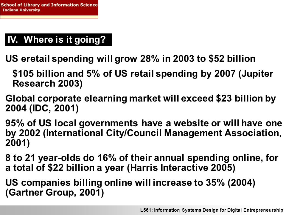 L561: Information Systems Design for Digital Entrepreneurship US eretail spending will grow 28% in 2003 to $52 billion $105 billion and 5% of US retai
