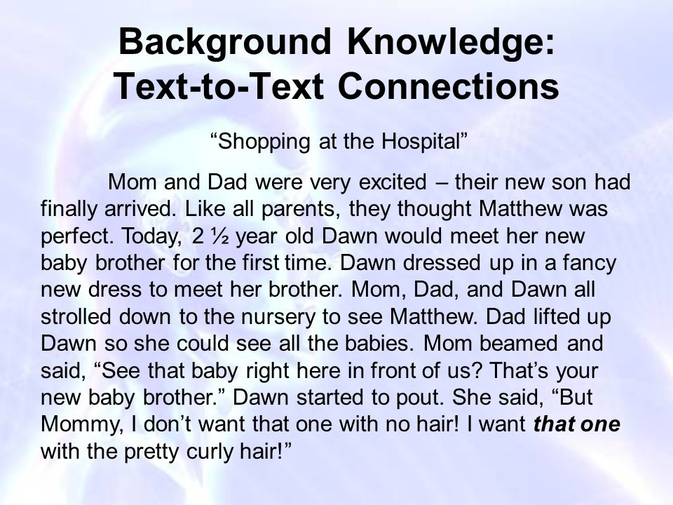 Background Knowledge: Text-to-Text Connections Shopping at the Hospital Mom and Dad were very excited – their new son had finally arrived.
