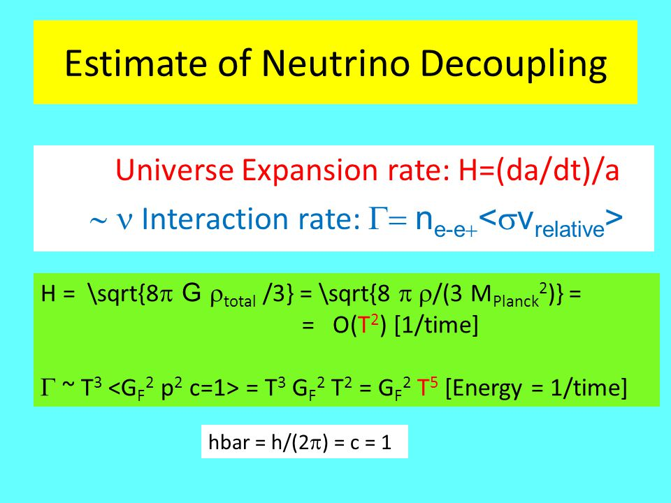 Temperature of Photons and Neutrinos The Neutrinos decouple before the Photons due to te weak interaction at about: T decoupl (Neutrinos) ~ 1 MeV ~ [Kelvin] T decoupl (Photons) ~ 0.3 [eV] ~ 3000 [Kelvin] Entropy ~ g i x T i 3 = g f T f 3 = const e's + Photons: g i = 4x(7/8) +2 = 11/2; Photons only: g f = 2 g f /g i = 4/11 = (T i= /T f ) 3 = ( T /(T f = 2.725)) 3  T (today) = (4/11) 1/ = 1.95 Kelvin