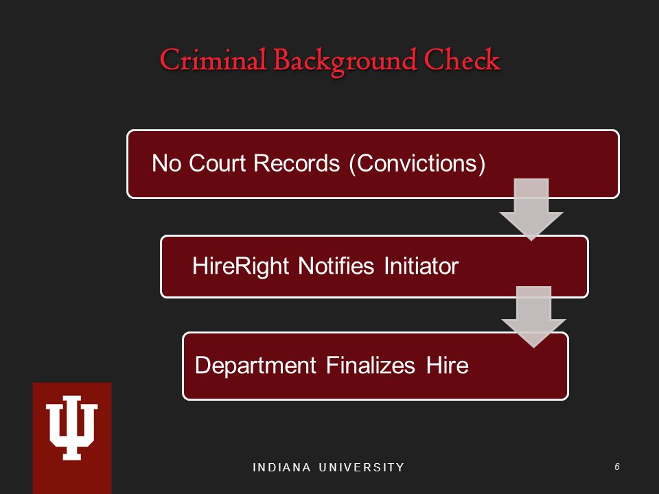 Criminal Background Check INDIANA UNIVERSITY 6 No Court Records (Convictions) HireRight Notifies Initiator Department Finalizes Hire