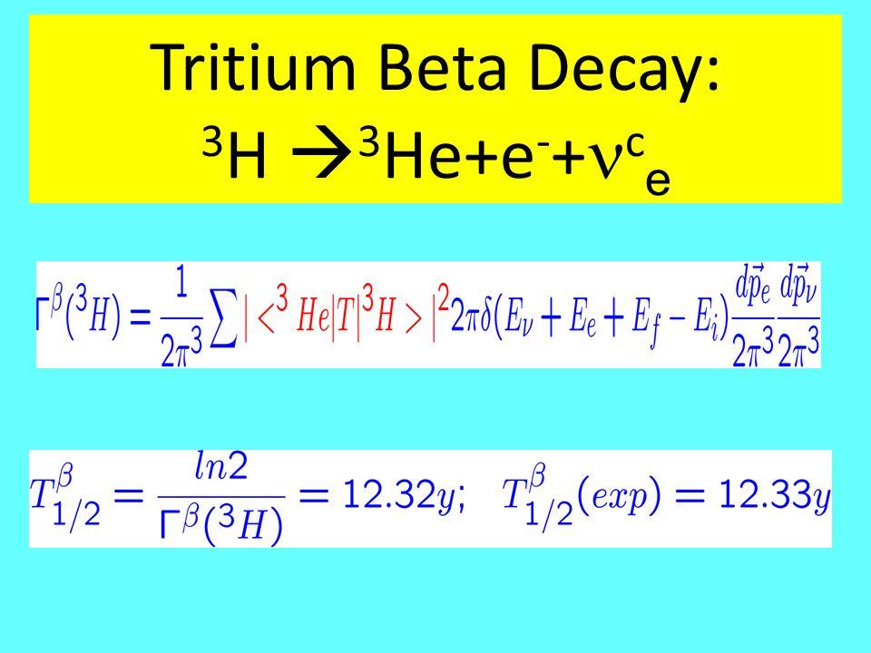 Tritium Beta Decay: 3 H  3 He+e - + c e