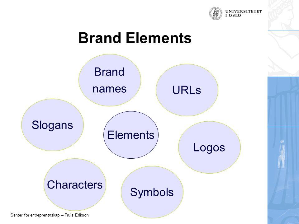 Senter for entreprenørskap – Truls Erikson Brand Elements Elements Slogans Brand names URLs Logos Symbols Characters