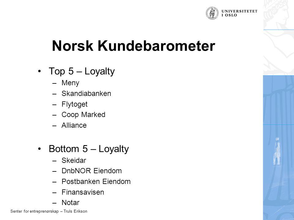 Senter for entreprenørskap – Truls Erikson Norsk Kundebarometer Top 5 – Loyalty –Meny –Skandiabanken –Flytoget –Coop Marked –Alliance Bottom 5 – Loyalty –Skeidar –DnbNOR Eiendom –Postbanken Eiendom –Finansavisen –Notar