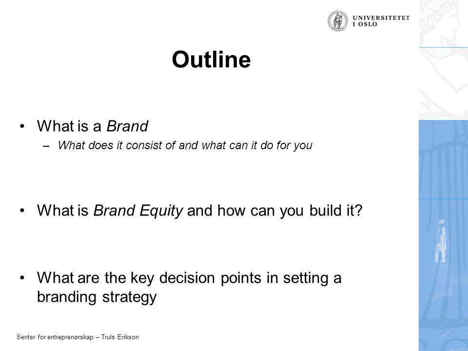 Senter for entreprenørskap – Truls Erikson Managing Brand Equity Brand Reinforcement Brand Revitalization Brand Crises